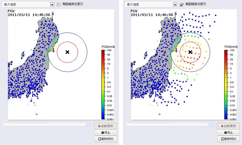 強震モニタのシミュレーションデータ