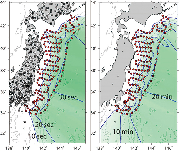 図7 地震と津波検知の迅速性の改善度合い。震央位置と改善時間の関係。左:地震検知、右:津波検知