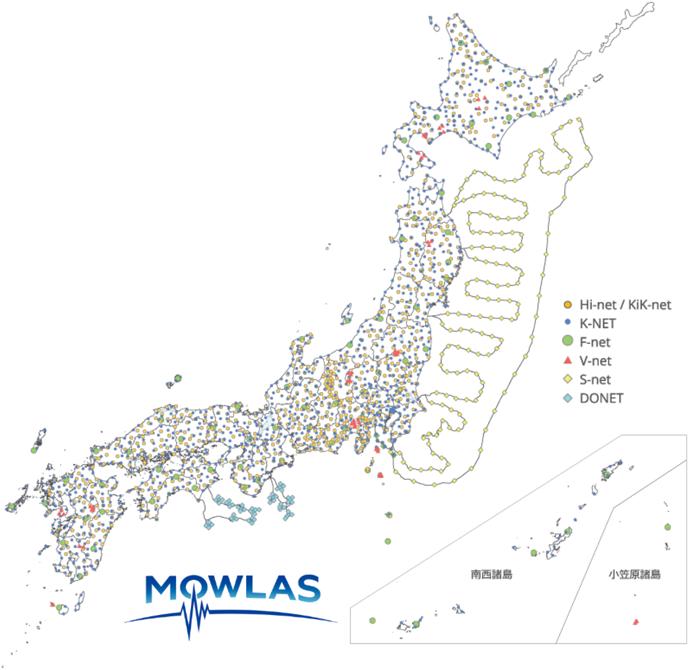 図1 MOWLAS の観測点配置
