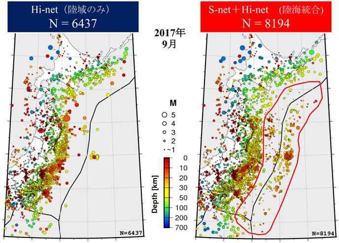 図2 S-net が加わったことによる地震検知への貢献
